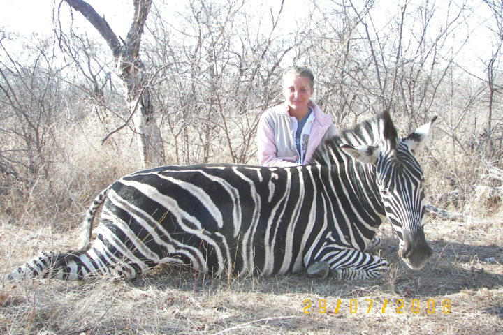 Sharon with Zebra