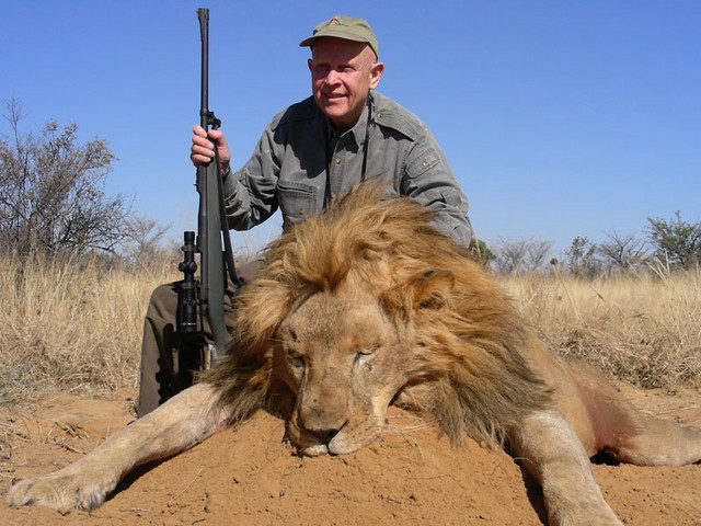 Bob Long with Lion