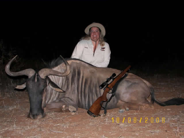Jackie Wright with Blue Wildebeest